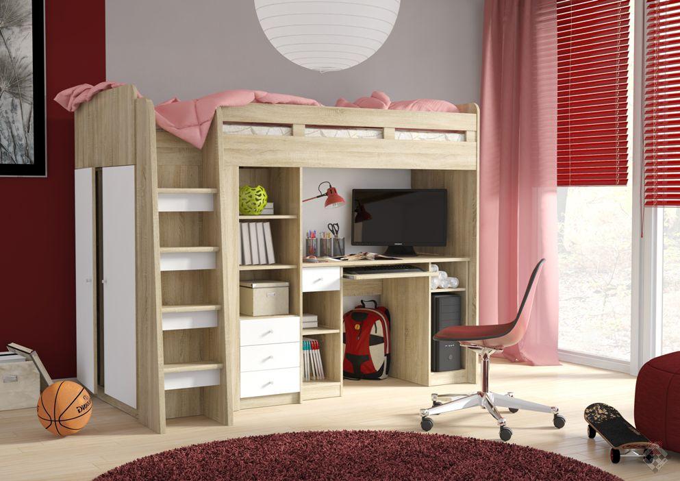 Unit łóżko Piętrowe Z Biurkiem I Szafą