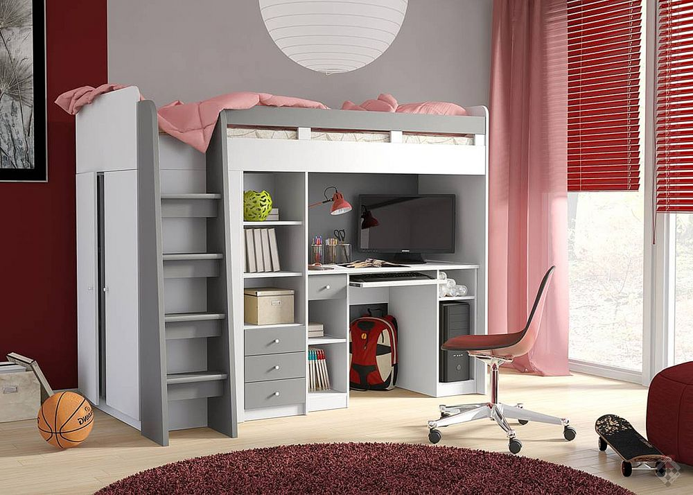 Combi Plus łóżko Piętrowe Z Biurkiem I Szafą
