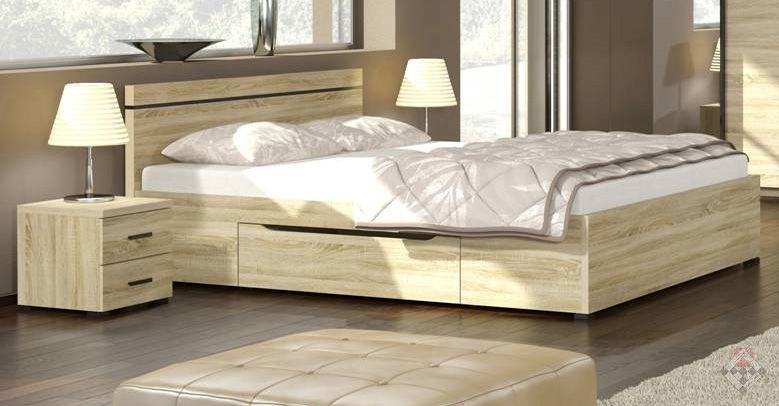 Life łóżko Dąb Sonoma Z Dwiema Szufladami